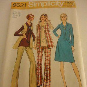 Vintage Simplicity 9621 Pants Dress Vest Pattern